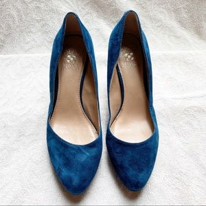 Vince Camuto Blue Suede 2.5-3in High Heel Shoes